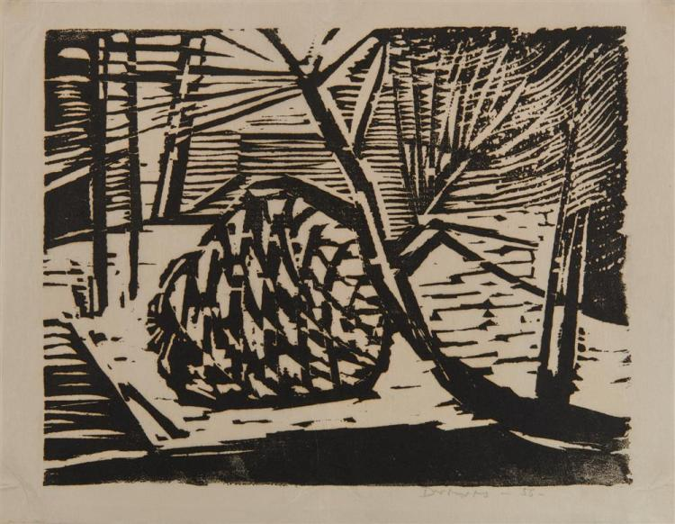 WERNER DREWES, (American, 1899-1985), Two Woodcuts, largest: 7 3/4 x 10 in.