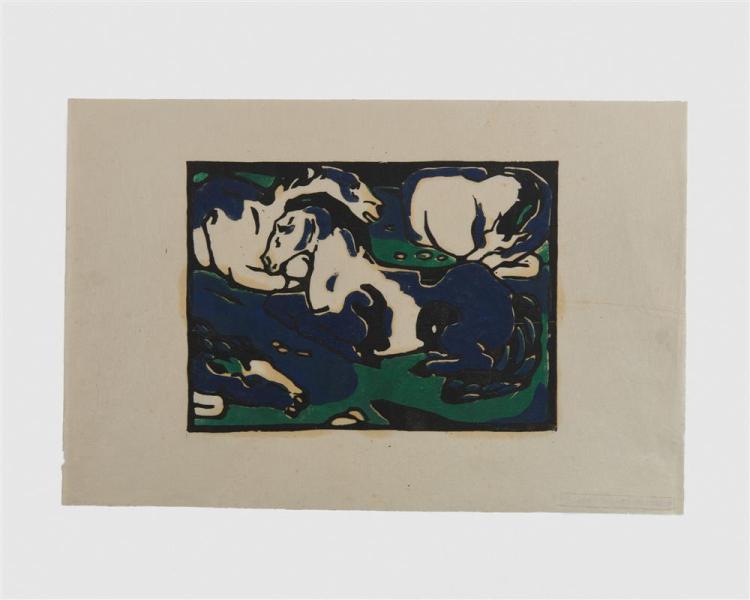 FRANZ MARC, (German, 1880-1916), Ruhende Pferde (Horses Resting), woodcut, 6 5/8 x 9 in.