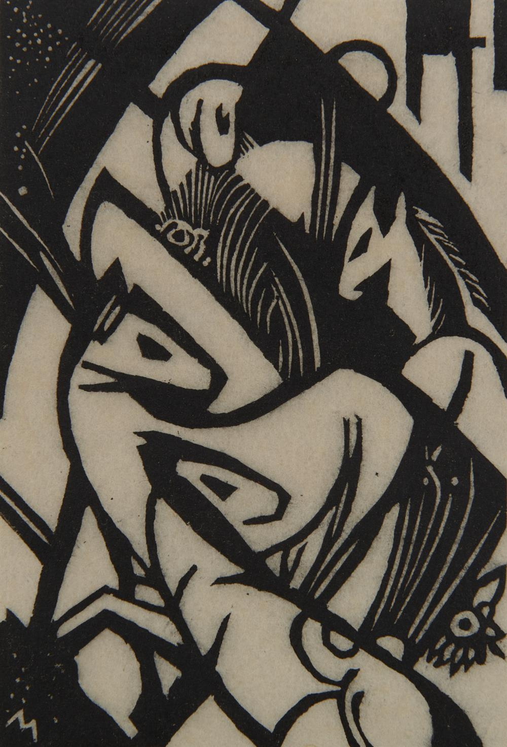 FRANZ MARC, (German, 1880-1916), Springende Pferdchen (Small Leaping Horses), woodcut, 5 1/4 x 3 1/2 in.