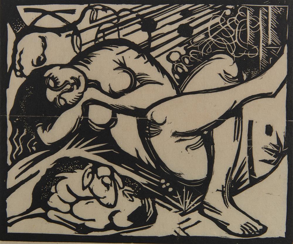 FRANZ MARC, (German, 1880-1916), Schlafende Hirtin (Sleeping Shepherdess), woodcut, 7 7/8 x 9 1/2 in.