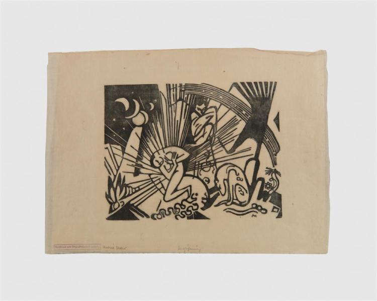 FRANZ MARC, (German, 1880-1916), Versohnung (Reconciliation), woodcut, 8 7/8 x 10 1/8 in.