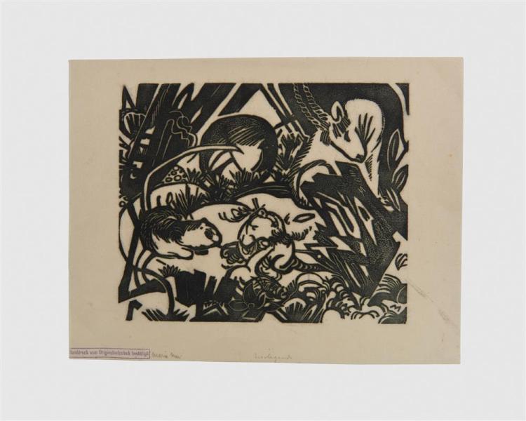 FRANZ MARC, (German, 1880-1916), Tierlegende (Animal Legend), woodcut, 7 7/8 x 9 1/2 in.