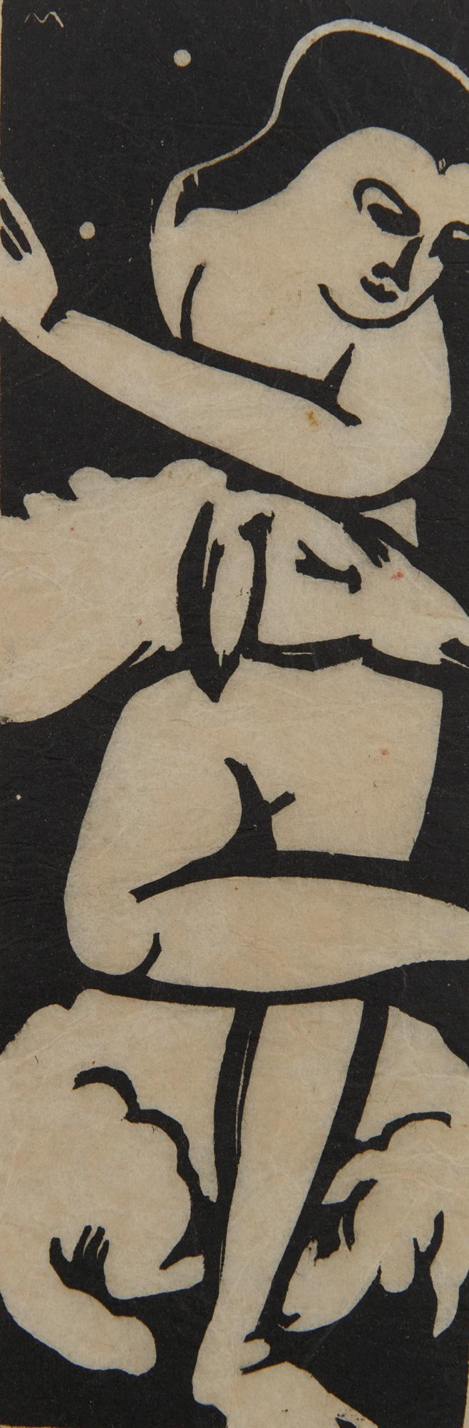 FRANZ MARC, (German, 1880-1916), Die Hirtin (Shepherdess), woodcut, 8 5/8 x 2 7/8 in.