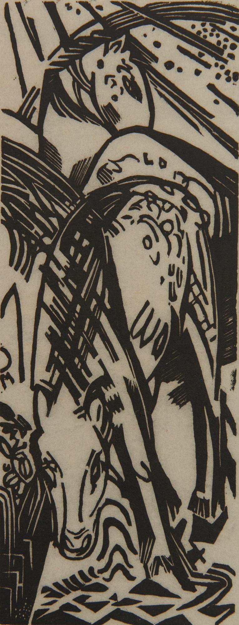FRANZ MARC, (German, 1880-1916), Trinkendes Pferd (Drinking Horse), woodcut, 8 3/4 x 3 3/8 in.