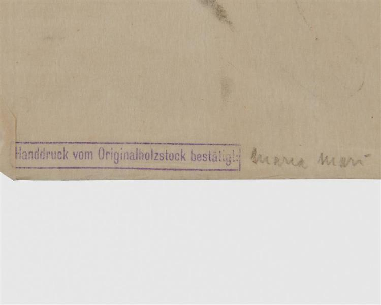FRANZ MARC, (German, 1880-1916), Dir Stier (Bull Steer), woodcut, 6 3/8 x 8 3/4 in.