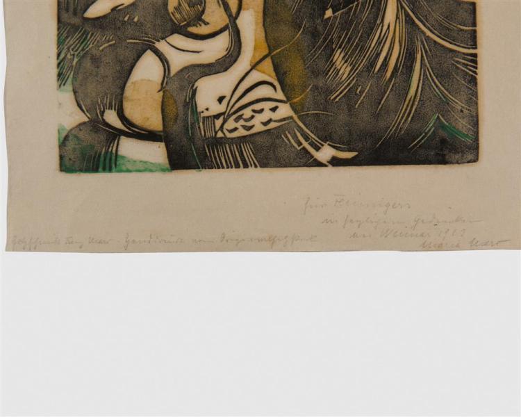 FRANZ MARC, (German, 1880-1916), Schöpfungsgeschichte II (The Creation II), woodcut, impression: 9 1/2 x 8 7/8 in.
