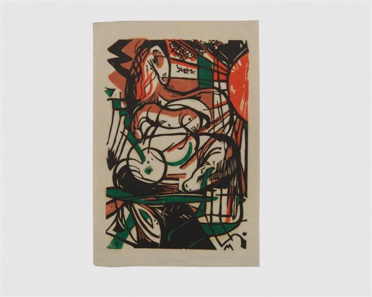 FRANZ MARC, (German, 1880-1916), Geburt de Pferde (Birth of the Horses), woodcut, 7 7/8 x 9 1/2 in.