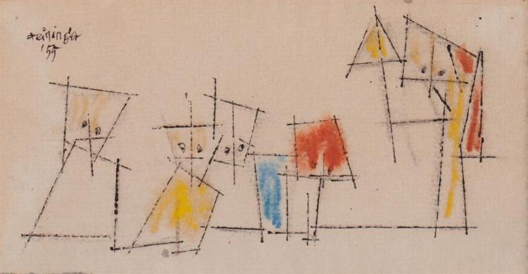 LYONEL FEININGER, (American/German, 1871-1956), Untitled (Five Ghosties), ink and watercolor, 3 1/8 x 6 1/4 in.; frame: 7 3/8 x 9 7/8 in.