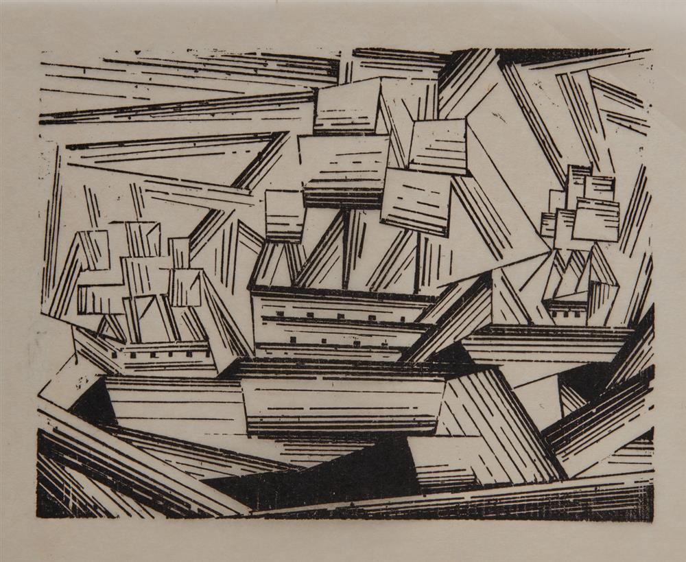 LYONEL FEININGER, (American/German, 1871-1956), Kreuzende Segelschiffe, 2 (Cruising Sailing Ships, 2) [Prasse W175], woodcut, 6 5/8 x 8 3/4 in.