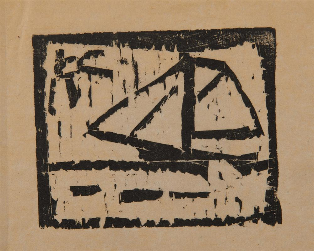 LYONEL FEININGER, (American/German, 1871-1956), Untitled (Ship and Sun), woodcut, 3 3/8 x 3 7/8 in.