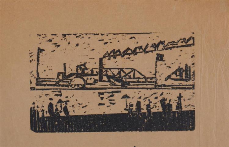 LYONEL FEININGER, (American/German, 1871-1956), Hudson River Dampschiff (Hudson River Steamer) [Prasse W312], woodcut, 2 1/4 x 3 7/8 in.