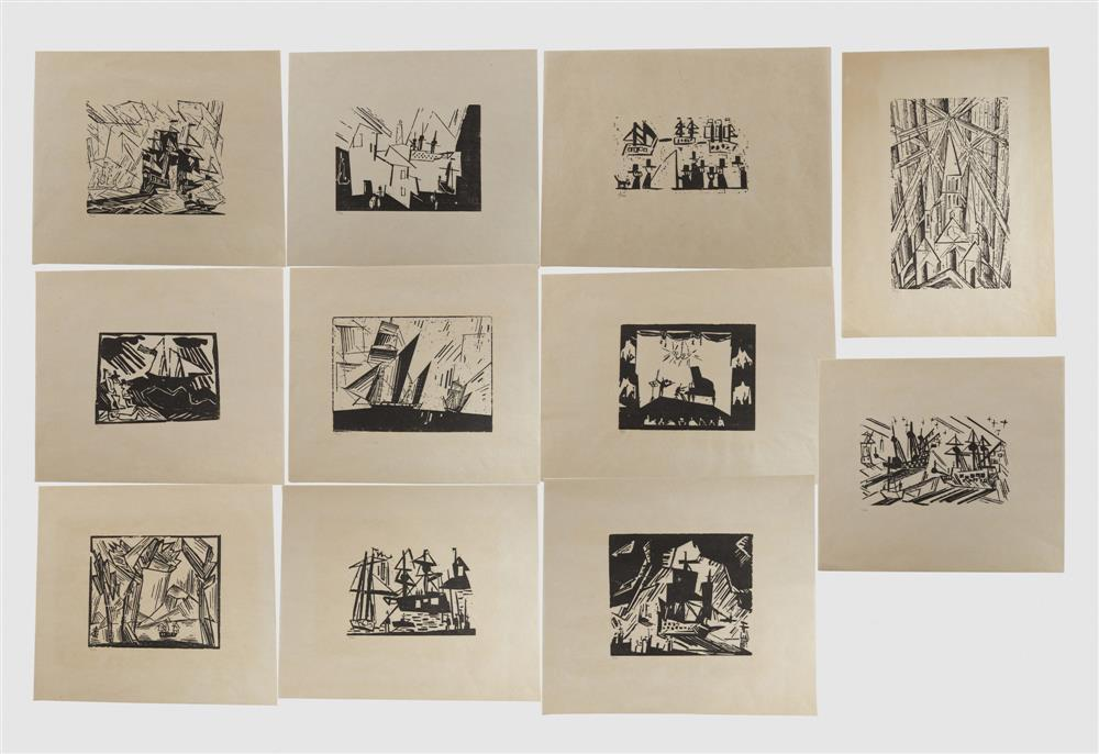 LYONEL FEININGER, (American/German, 1871-1956), Complete Set of Posthumous Woodcut Prints published by Associated American Artists, New York [Prasse P.E. 26]