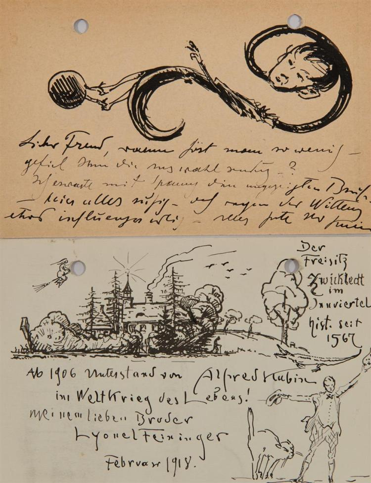 ALFRED KUBIN, (Austrian, 1877-1959), Three Character Sketches and Four Postcards, pen and ink, approx. 4 x 6 in. each