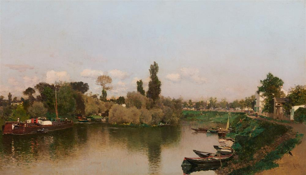 MARTIN RICO y ORTEGA, (Spanish, 1833-1908), Country Canal View, oil on canvas, 16 1/2 x 28 1/2 in., frame: 24 x 36 in.
