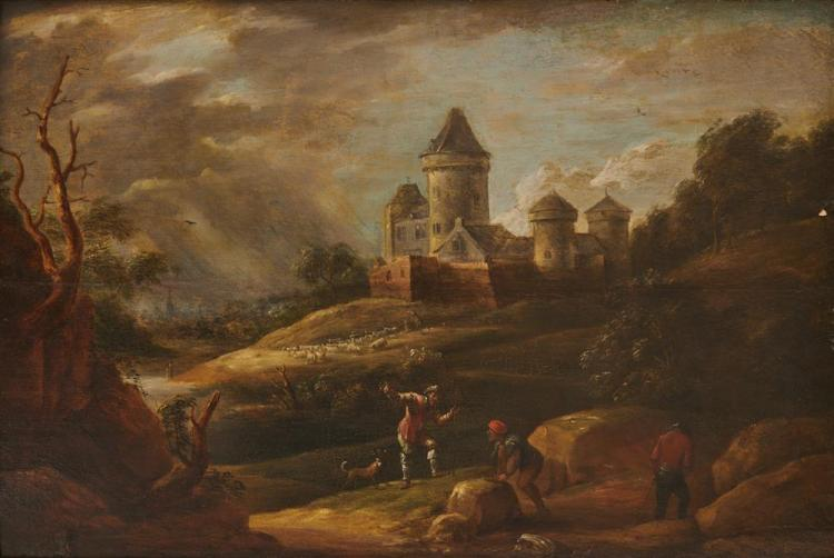Attributed to DAVID TENIERS IV, (Flemish, 1672-1771), Forest Scene, oil on panel, 15 x 22 in., frame: 22 x 29 in.