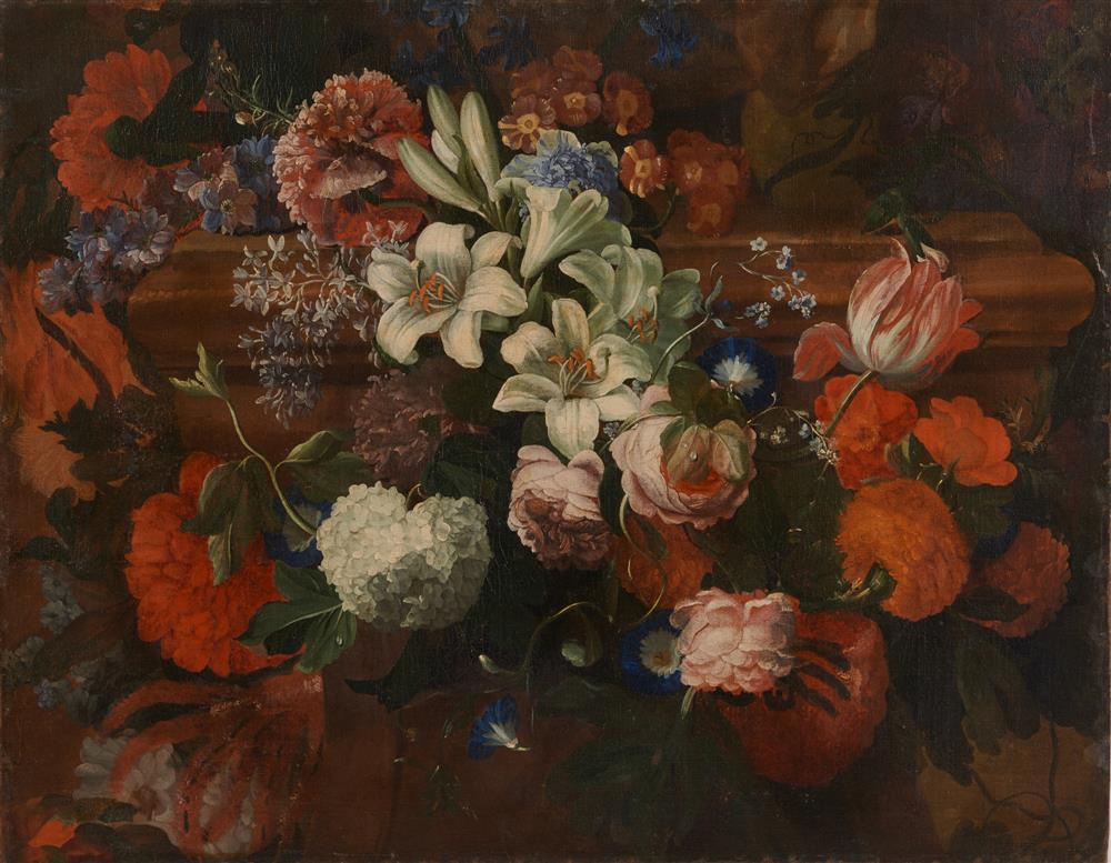 CONTINENTAL SCHOOL, (18th/19th century), Swag of Flowers, oil on canvas, 26 1/8 x 33 1/8 in.