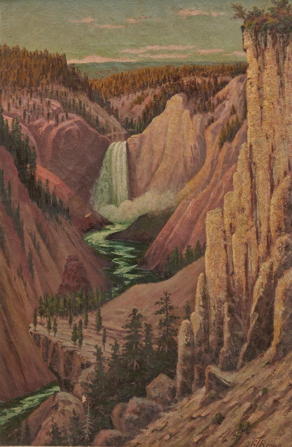 GRAFTON TYLER BROWN, (American, 1841-1918), Lower Falls and Grand Canyon of Yellowstone from Hayden Point, oil on canvas, 21 x 14 in., frame: 28 x 21 1/2 in.