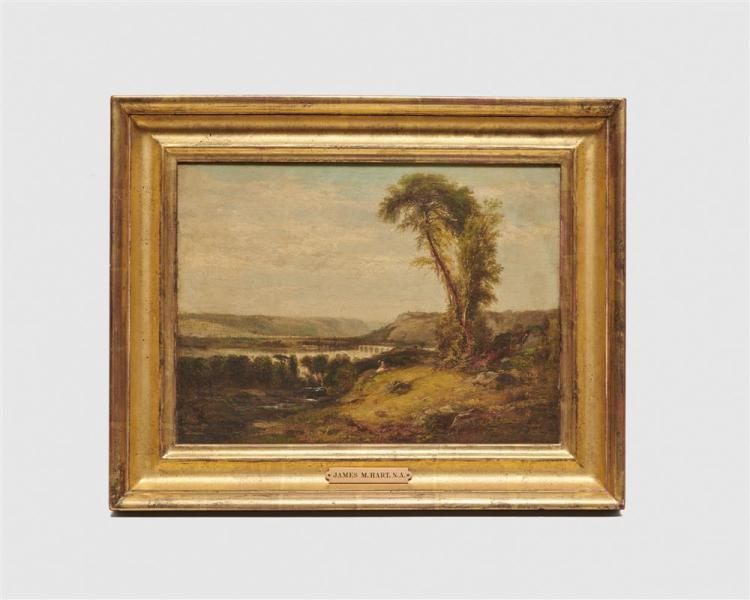 JAMES McDOUGAL HART, (American, 1828-1901), Landscape with Aqueduct, oil on canvas on board, 1868, 12 x 16 in., frame: 16 1/2 x 20 1/2 in.