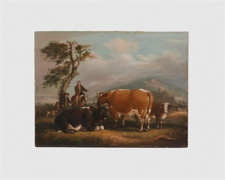 ALVAN FISHER, (American, 1792-1863), Pastoral Scene, oil on panel, 1817, 20 x 26 1/2 in., frame: 23 x 29 1/2 in.