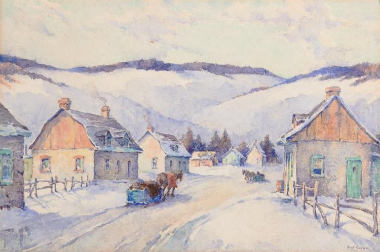 PAUL ARCHIBALD OCTAVE CARON, (Canadian, 1874-1941), Village in Snow, watercolor, sight: 14 1/2 x 21 1/2 in.