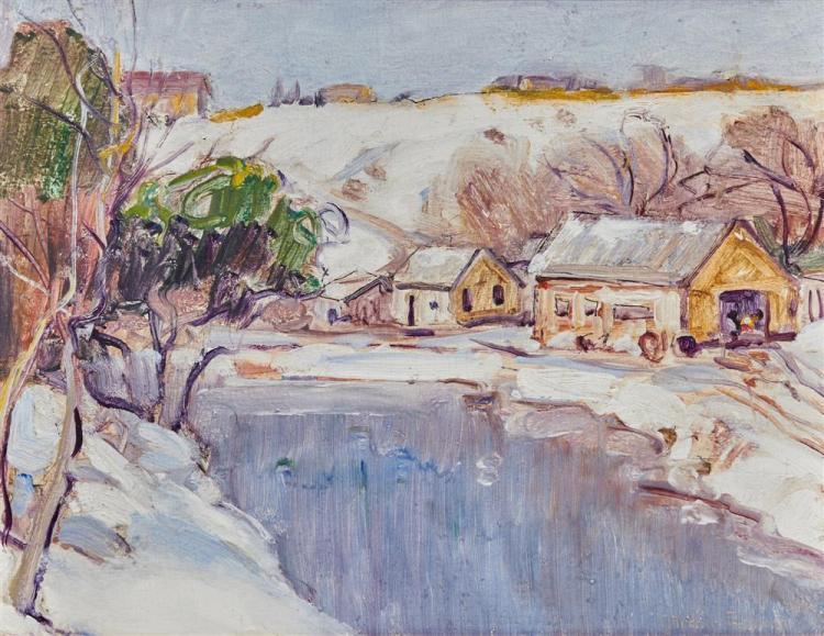 GEORGE GARDNER SYMONS, (American, 1863-1927), Winter Landscape, oil on board, 12 x 16 in., frame: 19 1/2 x 22 3/4 in.