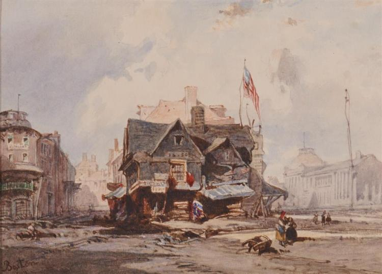 After EDUARD HILDEBRANDT, (German, 1819-1869), View of Boston's Old Feather Store, with Quincy Market at Right, watercolor, sight: 7 x 10 in., frame: 10 x 13 in.