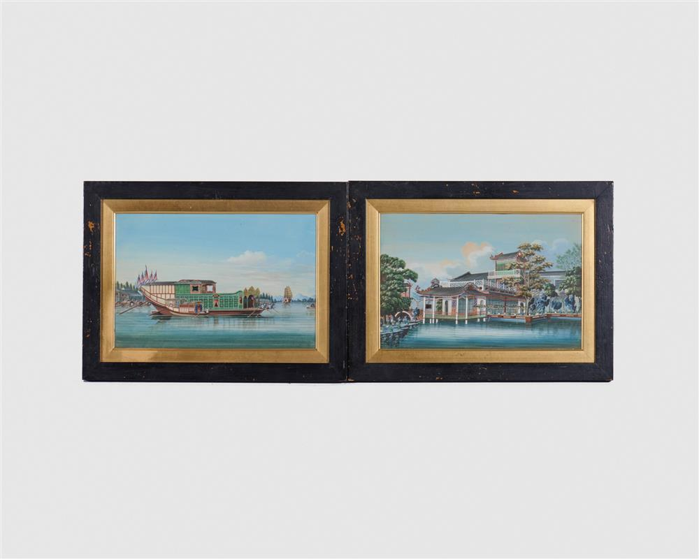 CHINA TRADE, (19th century), Pair of Paintings, watercolor and gouache on board, sight: 7 1/2 x 11 in., frame: 11 x 14 1/2 in.