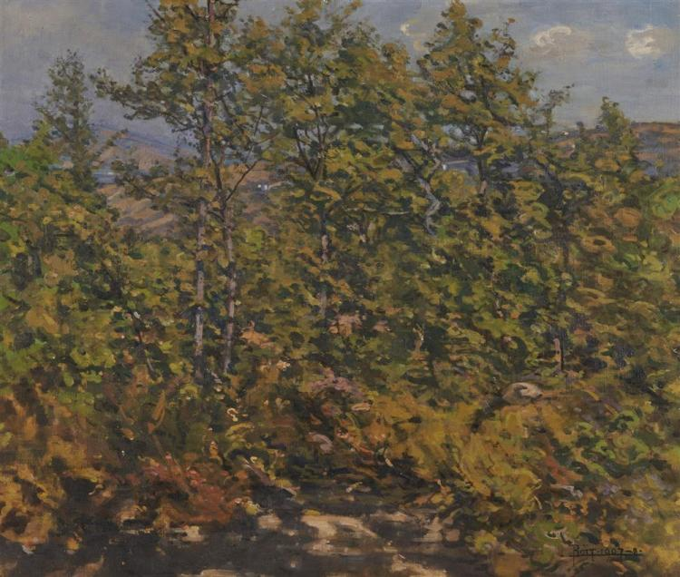 EDWARD DARLEY BOIT, (American, 1842-1916), Young Woods at Cernitojo, Tuscany, 1907-8, oil on canvas, 21 x 26 in., frame: 30 x 34 in.
