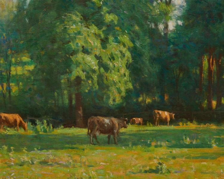 HAROLD C. DUNBAR, (American, 1882-1953), Pasture and Woodland, 1908, oil on canvas, 30 x 42 in., frame: 37 1/2 x 49 1/2 in.