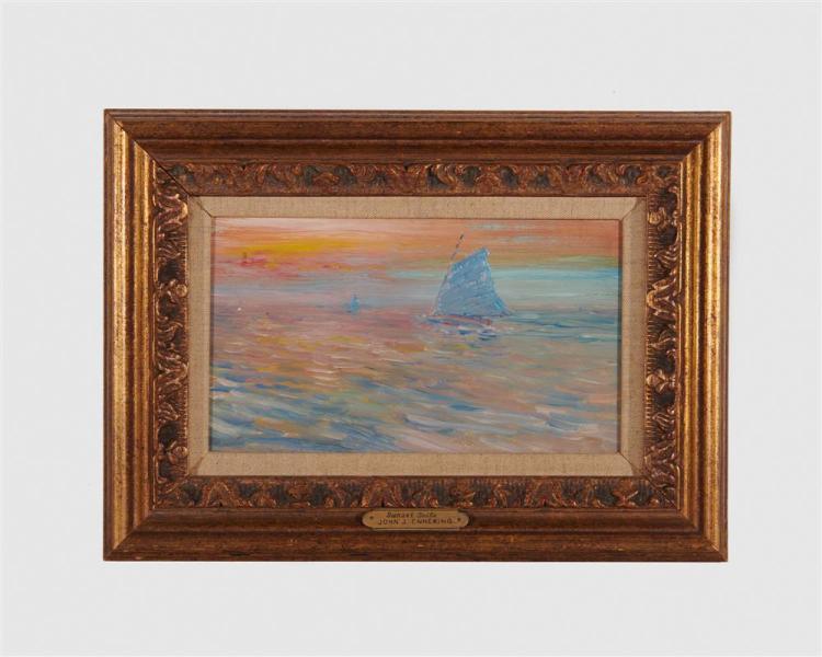 JOHN JOSEPH ENNEKING, (American, 1841-1916), Sunset Sails, oil on board, 5 x 9 in., frame: 9 x 12 3/4 in.