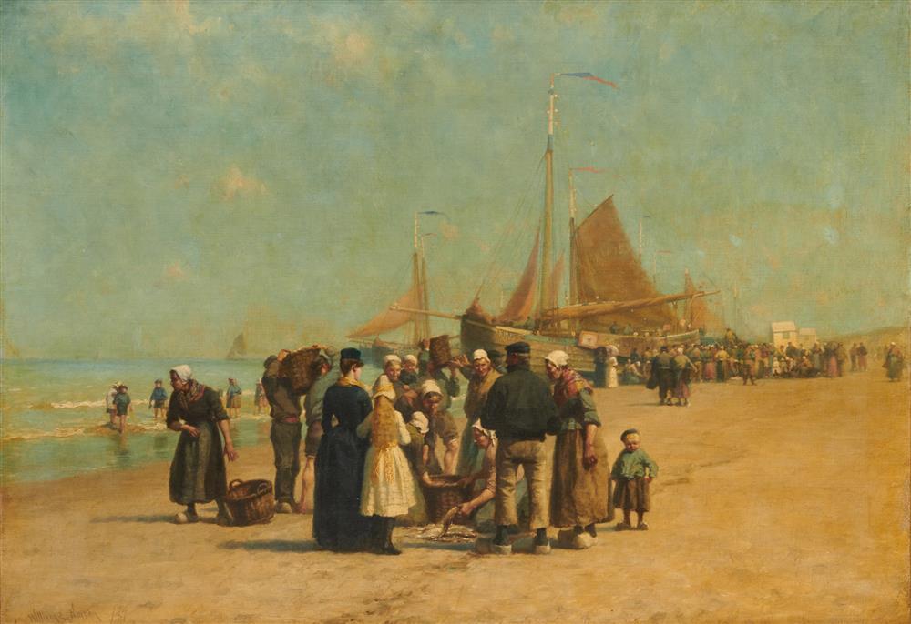 WILLIAM EDWARD NORTON, (American, 1843-1916), Fish Sale on the Beach, Schevinger, oil on prepared canvas panel, 34 1/2 x 48 in.; frame: 39 x 53 in.