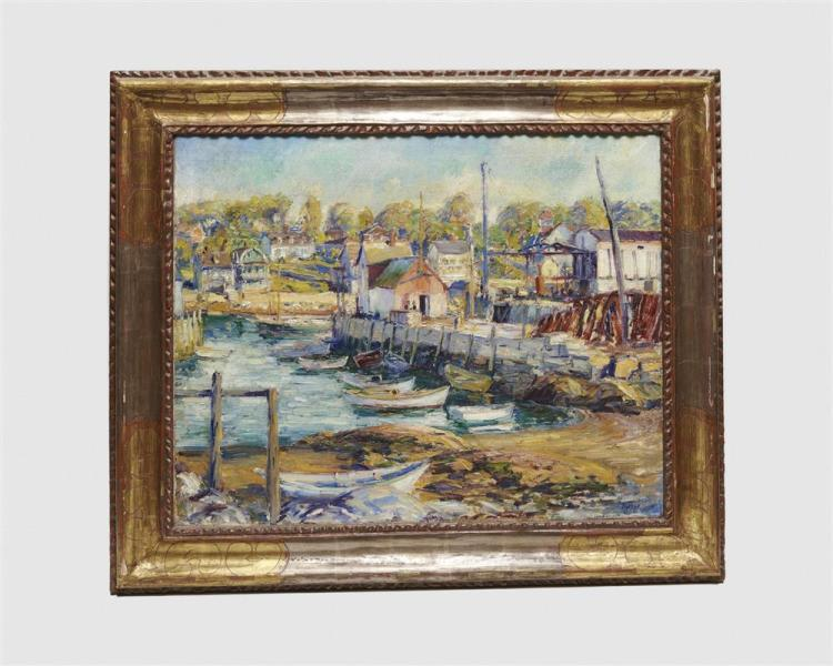 MAX KUEHNE, (American, 1880-1968), Motif No. 1, Rockport, oil on canvas, 24 x 30 in., frame: 31 1/2 x 37 1/2 in.