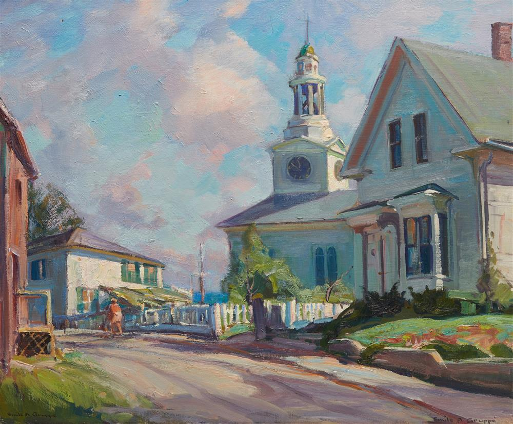 EMILE ALBERT GRUPPE, (American, 1896-1978), Rockport Street, oil on canvas, 25 x 30 in., frame: 29 1/2 x 34 1/2 in.