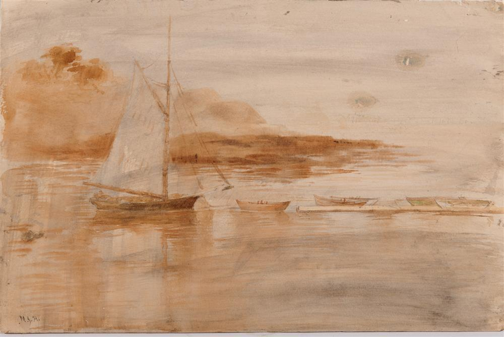 Attributed to MARTIN JOHNSON HEADE, (American, 1819-1904), Sailboat by the Shore, watercolor, 12 x 18 in.