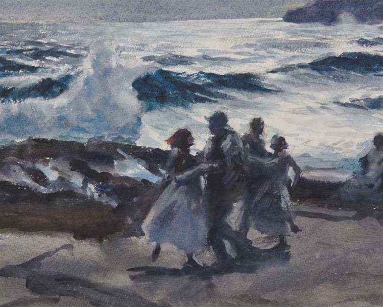 JOHN WHORF, (American, 1903-1959), Dance by the Sea, double sided watercolor, sheet: 15 3/4 x 22 3/4 in., frame: 22 x 30 in.
