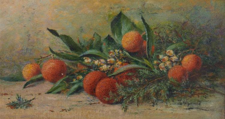 TOM HEYWOOD, (English, 1846-1919), Chrysanthemums and Oranges, oil on canvasboard, each: sight: 4 x 8 in., frame: 6 3/4 x 10 1/2 in.