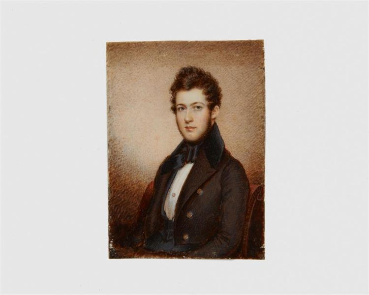 AMERICAN SCHOOL, (19th century), Portrait Miniature Depicting a Young Man in Formal Dress, gouache, 3 x 2 1/2 in.