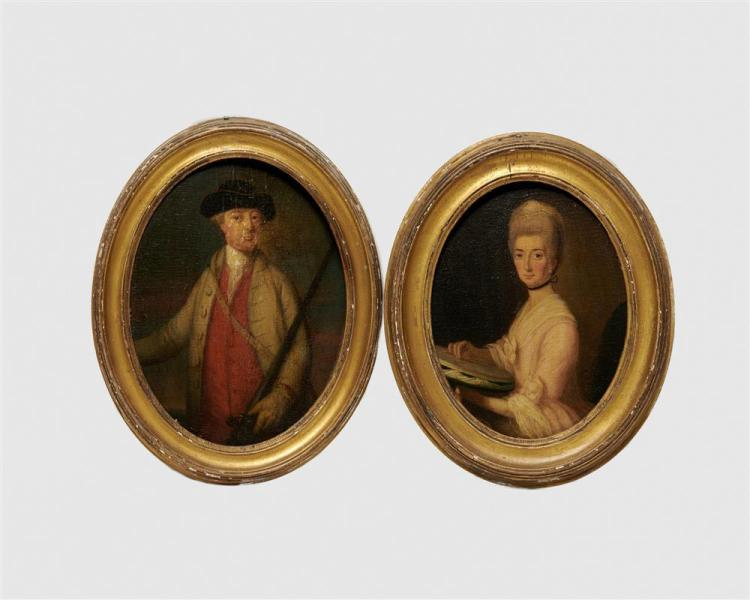 Attributed to GEORGE ROTH, (English, fl. 1742-1778), Portraits of a Lady and a Gentleman, oil on panel, each: 10 1/4 x 8 in., frame: 13 x 10 in.