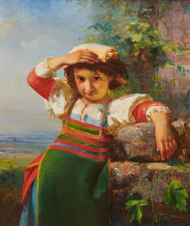 JAMES EDWARD FREEMAN, (American, 1808-1884), Young Italy, oil on canvas, 1866, 26 x 21 in., frame: 34 x 30 in.