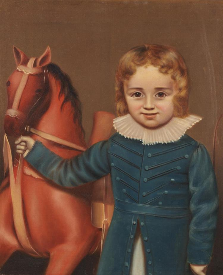 AMERICAN SCHOOL, (19th century), Boy with Hobby Horse, oil on canvas, 25 x 21 in., frame: 28 1/2 x 24 in.