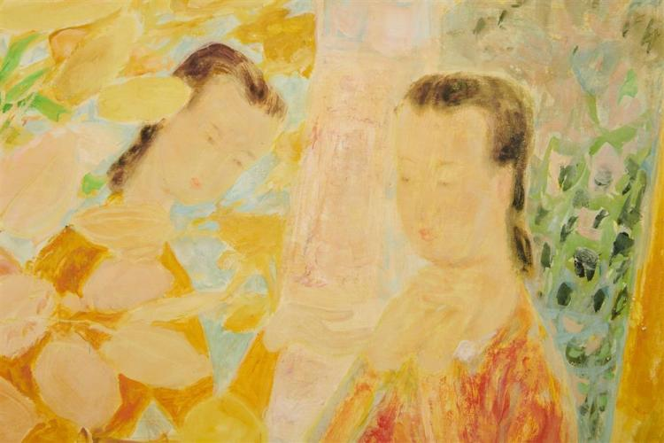 LE PHO, (French, 1907-2001), Les jeunes filles à la coupe de fruits, oil on silk laid on Masonite, 34 1/4 x 45 1/4 in., frame: 42 1/2 x 53 in.