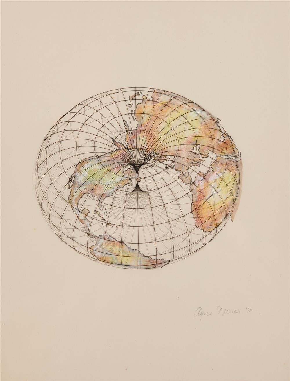 AGNES DENES, (American, b. 1938), The Isometric Systems in Isotropic Space-Map Projections: The Doughnut, ink, metallic paint, and pencil on paper with screenprint on plastic overlay, sight: 11 x 9 in., frame: 17 1/4...