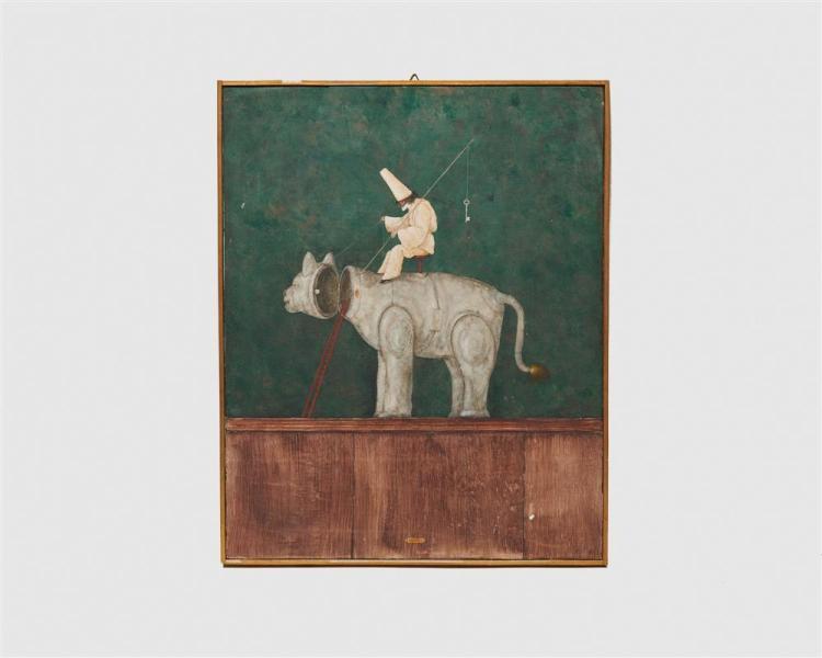 ARMODIO, (Italian, b. 1938), Pulcinella Guardiano, tempera on panel, 19 1/2 x 15 1/2 in., frame: 20 x 16 in.