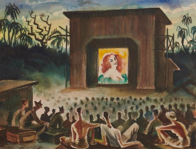 MALTBY SYKES, (American, 1911-1992), Evening Entertainment, Guam, watercolor, 1945, sight: 15 x 19 1/2 in.; frame: 25 x 29 in.