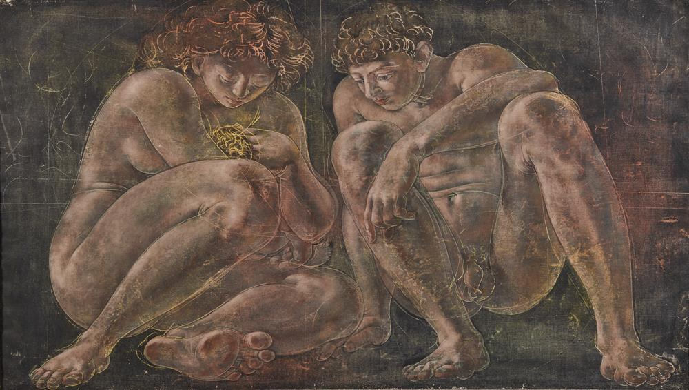 HANS ERNI, (Swiss, 1909-2015), Famille No. 1, oil on canvas, 29 x 51 in., frame: 32 1/2 x 54 1/2 in.