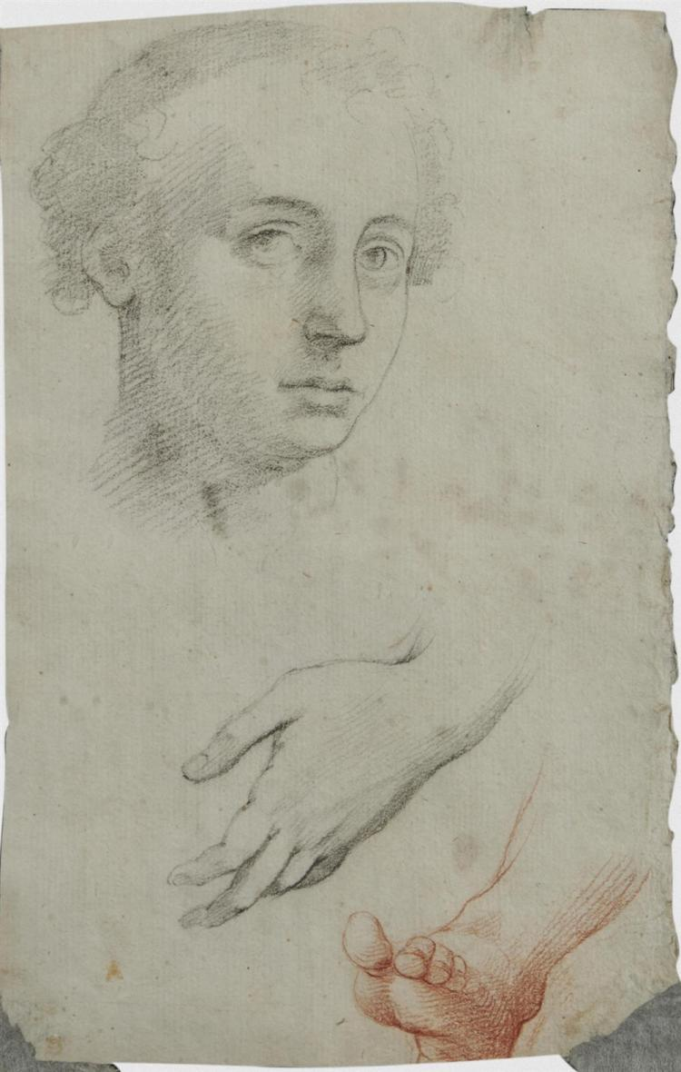 ITALIAN SCHOOL, (17th century), Double Sided Figure Studies, charcoal and sanguine, sheet: 9 1/2 x 6 in., frame: 19 x 14 3/4 in.