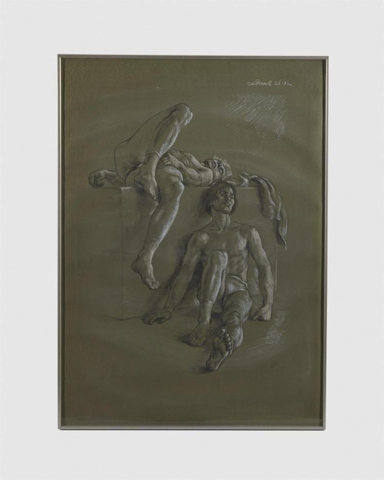 PAUL CADMUS, (American, 1904-1999), Dancers Resting, lithograph on paper with hand coloring in crayon, 28 x 20 in., frame: 28 1/2 x 20 1/2 in.