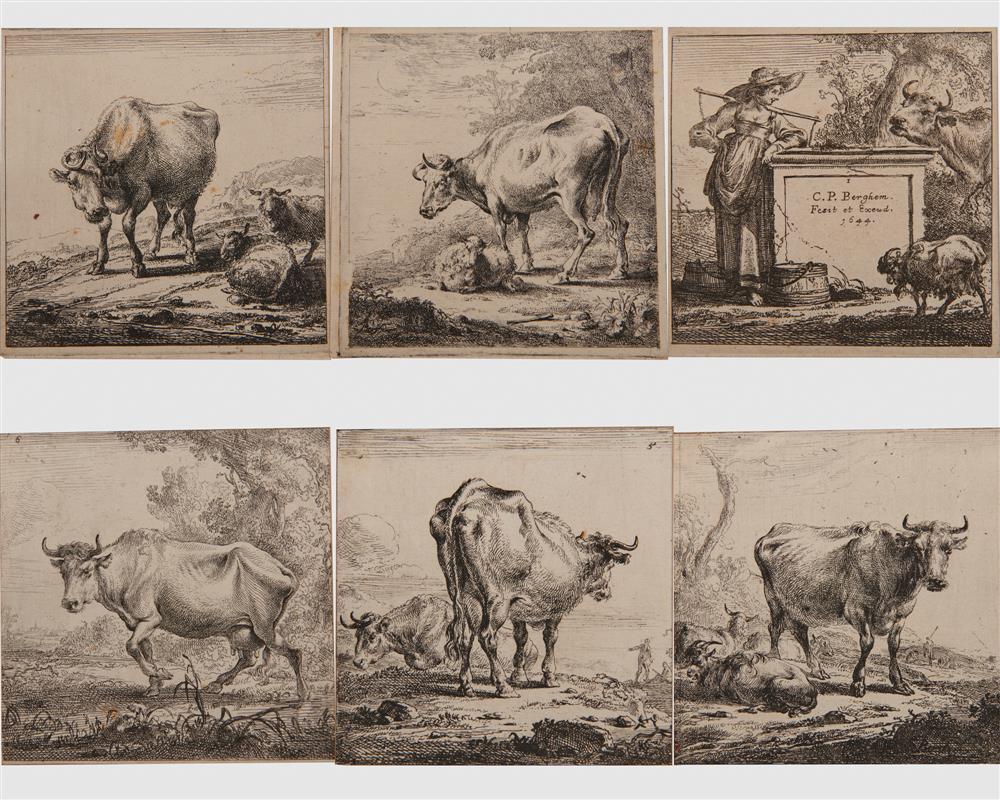 NICHOLAES PIETERSZ BERCHEM, (Dutch, 1620-1683), Las Vacas de La Lechera, six etchings, each plate approx. 3 1/2 x 3 1/2 in.