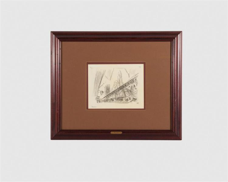 JOHN MARIN, (American, 1870-1953), Downtown, The El, etching, plate: 6 3/4 x 8 3/4 in., sheet: 8 5/8 x 13 1/8 in., frame: 19 1/4 x 23 1/4 in.