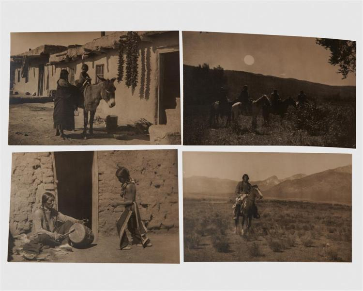 CARL EVERTON MOON, (American, 1879-1949), Eight Photographs: - The First Riding Lesson - Yaz-Yah Chee - Before the Dance - The Dancing Lesson - The Guide - The Meeting Place - The Last of the Council - Cho-Bah-Begay (...